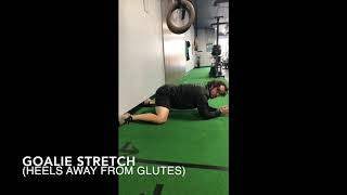 Goalie Stretch (heels away from glutes)