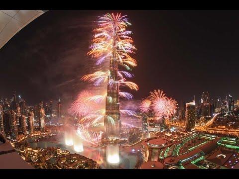 احتفالات برج خليفة برأس السنة الميلادية  Burj Khalifa Dubai New Year fireworks show