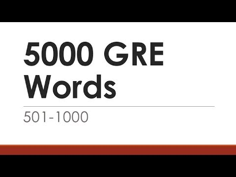 5000 GRE Words 501-1000 | English Words With Meaning