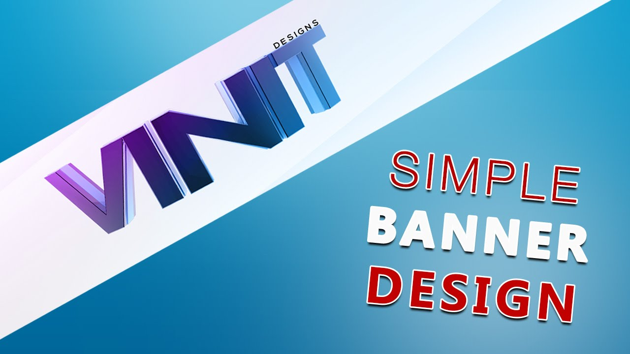 Photoshop Tutorial: Simple 3D Text YouTube Banner Design - YouTube