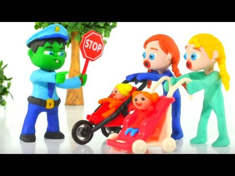 HULK POLICE STOPS FROZEN ELSA & ANNA ❤ Spiderman, Hulk & Frozen Elsa Play Doh Cartoons For Kids