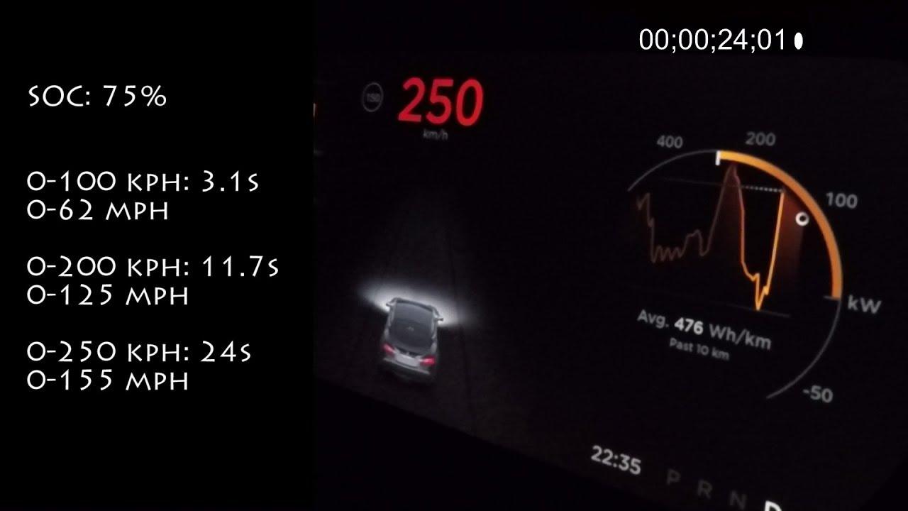 200 Kph To Mph >> Tesla Model S P100d Ludicrous Acceleration 0 250 Kph 0 155 Mph On German Autobahn