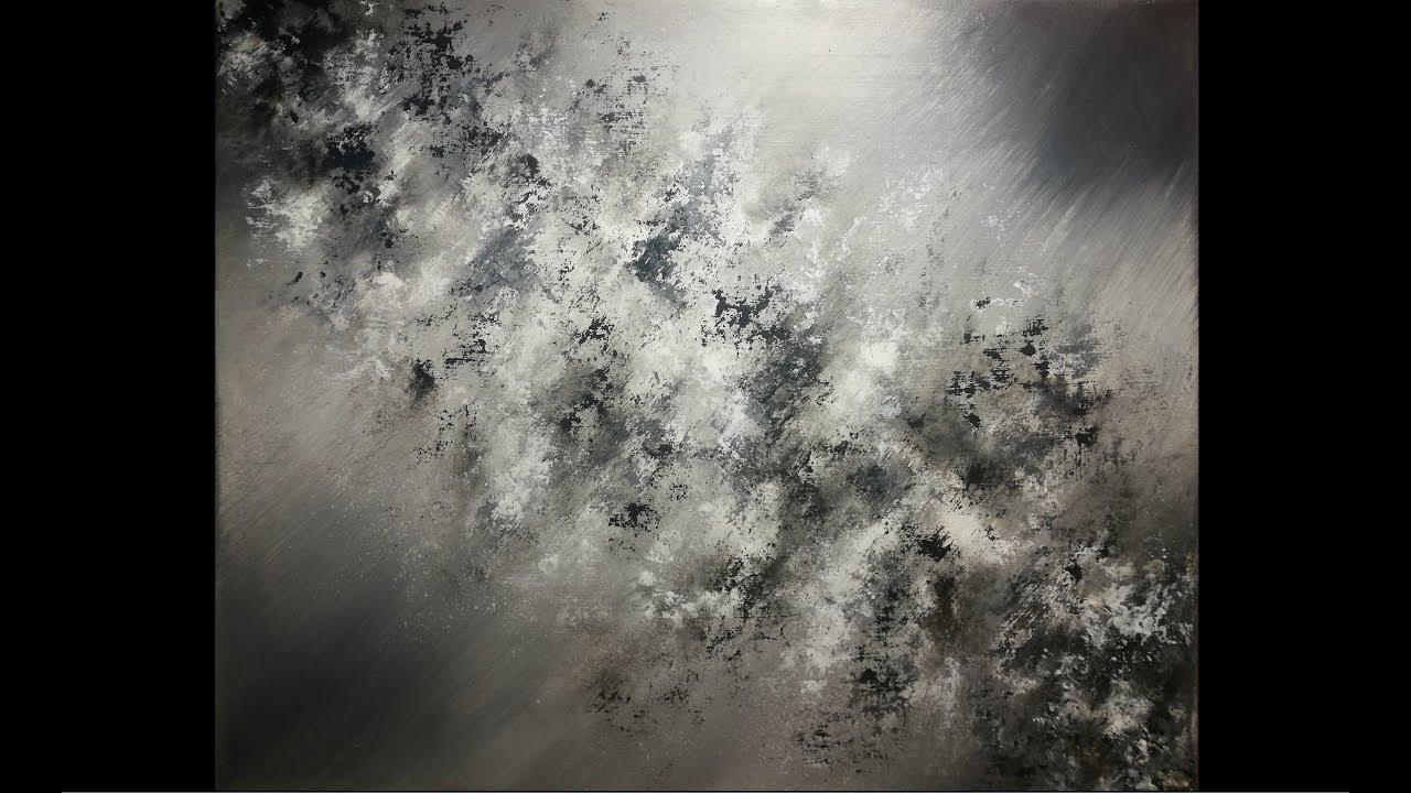 Peinture Acrylique Abstraite En Noir Et Blanc Youtube