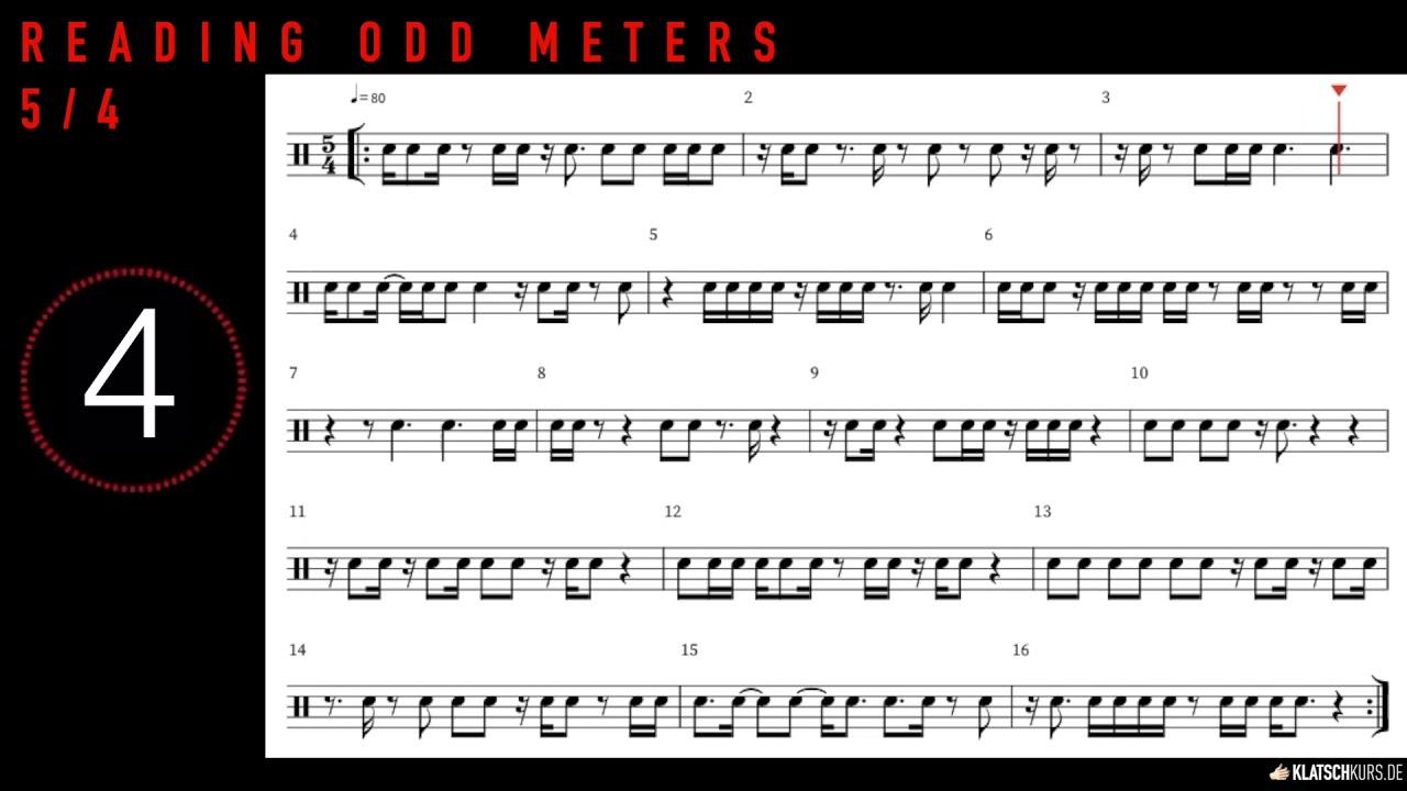 Reading Odd Meters, 5/4, 80bpm, Full - Klatschkurs - Rhythm Reading - by Kristof Hinz