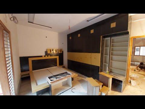 bedroom में ! Wardrobe Double bed कैसे बनाते हैं ? Wardrobe TV Unit Interior dressing cabinet digain