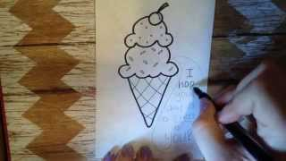 Lunch Box Love Note...How to Draw an Ice Cream Cone