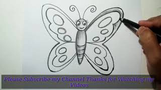How to draw butterfly for kids, drawing and colorong buterfly easy