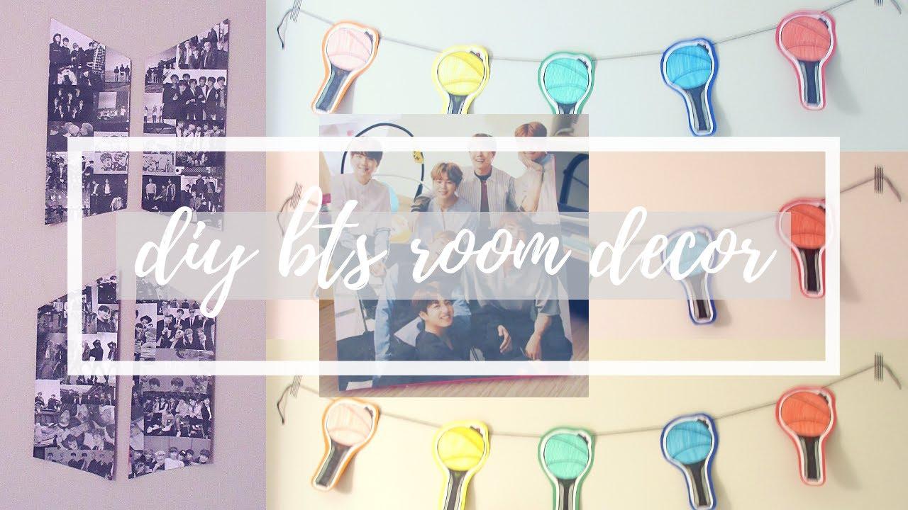 3 Cheap Easy Bts Room Decor Diys Diy Bts Logo Collage Standing Photo Light Stick Banner Youtube