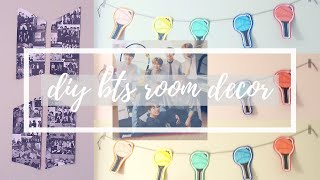 3 Cheap & Easy BTS Room Decor DIYs!! || DIY BTS Logo Collage, Standing Photo, & Light-stick Banner