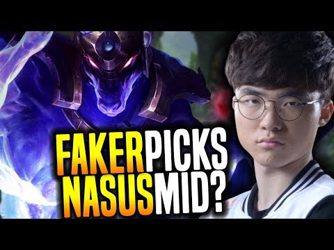 FAKER Goes CRAZY and Picks NASUS MID! - SKT T1 Faker SoloQ Playing Nasus Midlane! | SKT T1 Replays