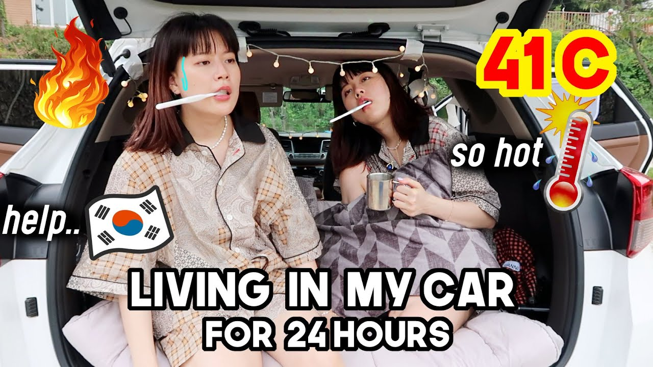Living In My Car For 24 Hours In Korea During HOTTEST Summer (this is what happened..) | Q2HAN