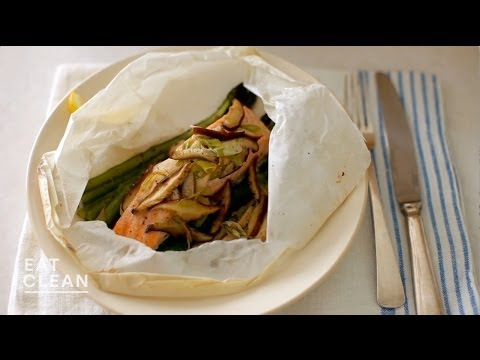 Salmon, Asparagus And Shiitake Mushrooms Steamed In Parchment - Eat Clean With Shira Bocar