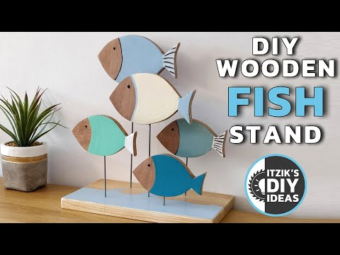 DIY Decorative Wooden Fish Stand | Table Shelf Art | Wooden Sculpture
