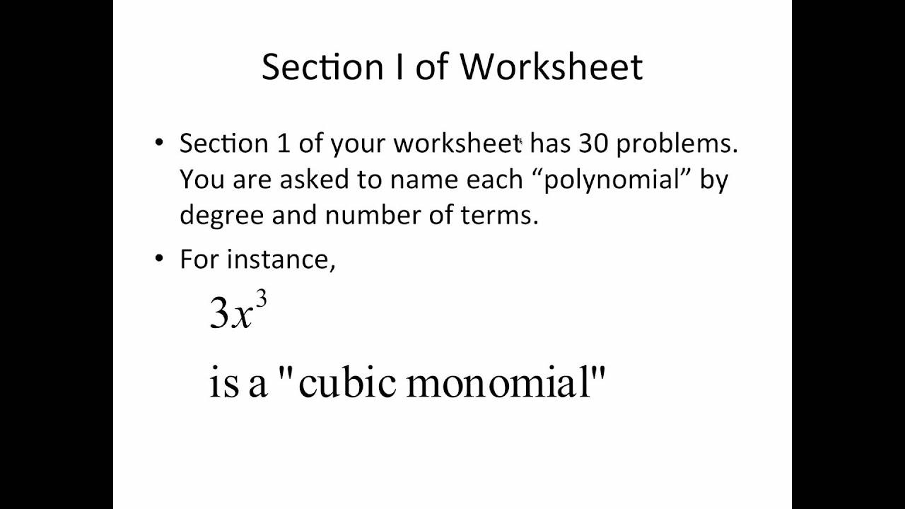 Polynomial Vocabulary YouTube – Naming Polynomials Worksheet