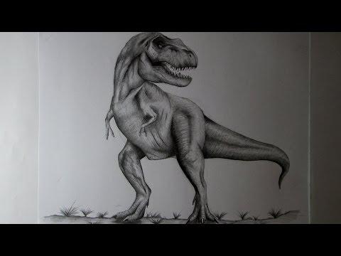 Cómo Dibujar Un Tiranosaurio Rex A Lápiz Paso A Paso, Cómo Dibujar Dinosaurios REALISTAS