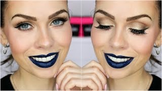GRWM: Extravagantní tmavě modré rty | Dark blue lips tutorial