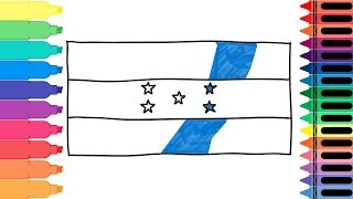 How to Draw Honduras Flag - Drawing the Honduran Flag - Coloring Pages for kids | Tanimated Toys