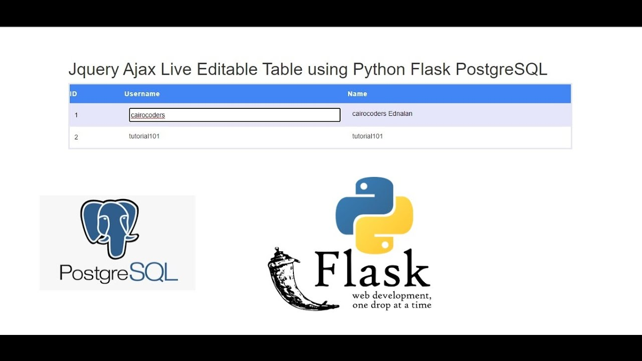 Jquery Ajax Live Editable Table using Python Flask PostgreSQL