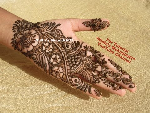 Mehndi Henna Designs S : Beautiful arabic henna mehndi art deisgn tutorial for front hand