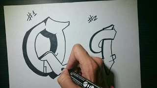 """How to draw Graffiti Letter """"Q"""" on paper"""