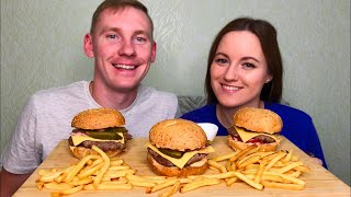 МУКБАНГ ДОМАШНИЙ ФАСТФУД ГАМБУРГЕР КАРТОШКА ФРИ| MUKBANG HOMEMADE FAST FOOD HAMBURGER FRIES