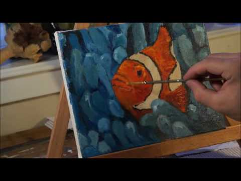 Clownfish Oil Painting for beginners contemporary impressionism