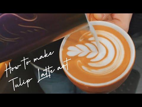 How to make Tulip Latte Art 🌷Cafe Vlog, Barista Latte Art Skills, Barista Joy