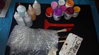 Урок начинающим.Цветы мастихином.Acrylic Flyid Pouring.Акриловая заливка.FluidArt.