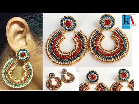 How to make Chandbali designer earrings at Home // designer Chandbali Jhumkas