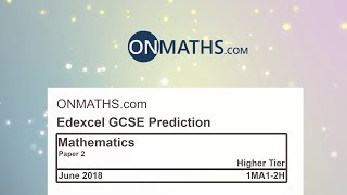 2018 Edexcel Maths GCSE Paper 2 Predicted Paper for Higher Calculator Exam 1MA1/2H