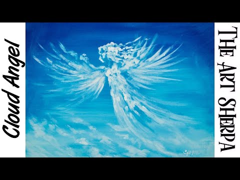 How to paint a Cloud Angel beginner step by step Acrylic painting