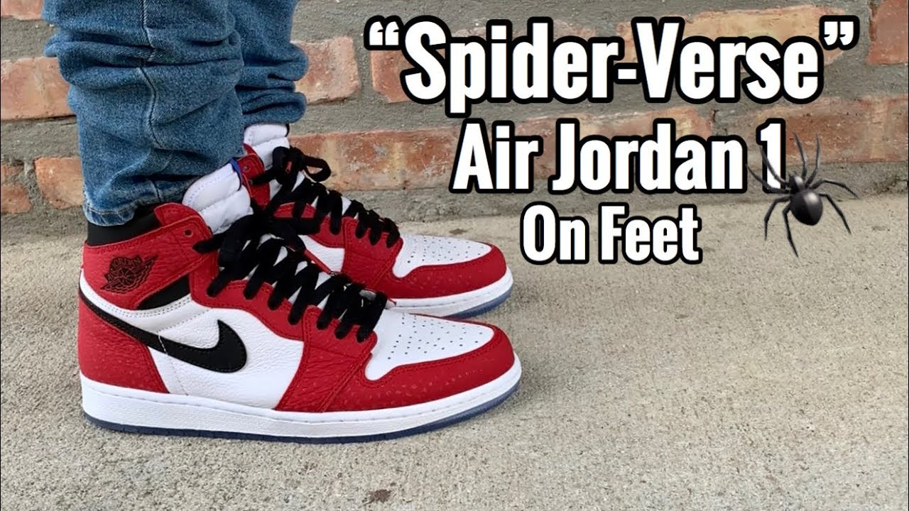 "c2c8f398f959 Air Jordan 1 ""Spider-Verse"" on feet - YouTube"