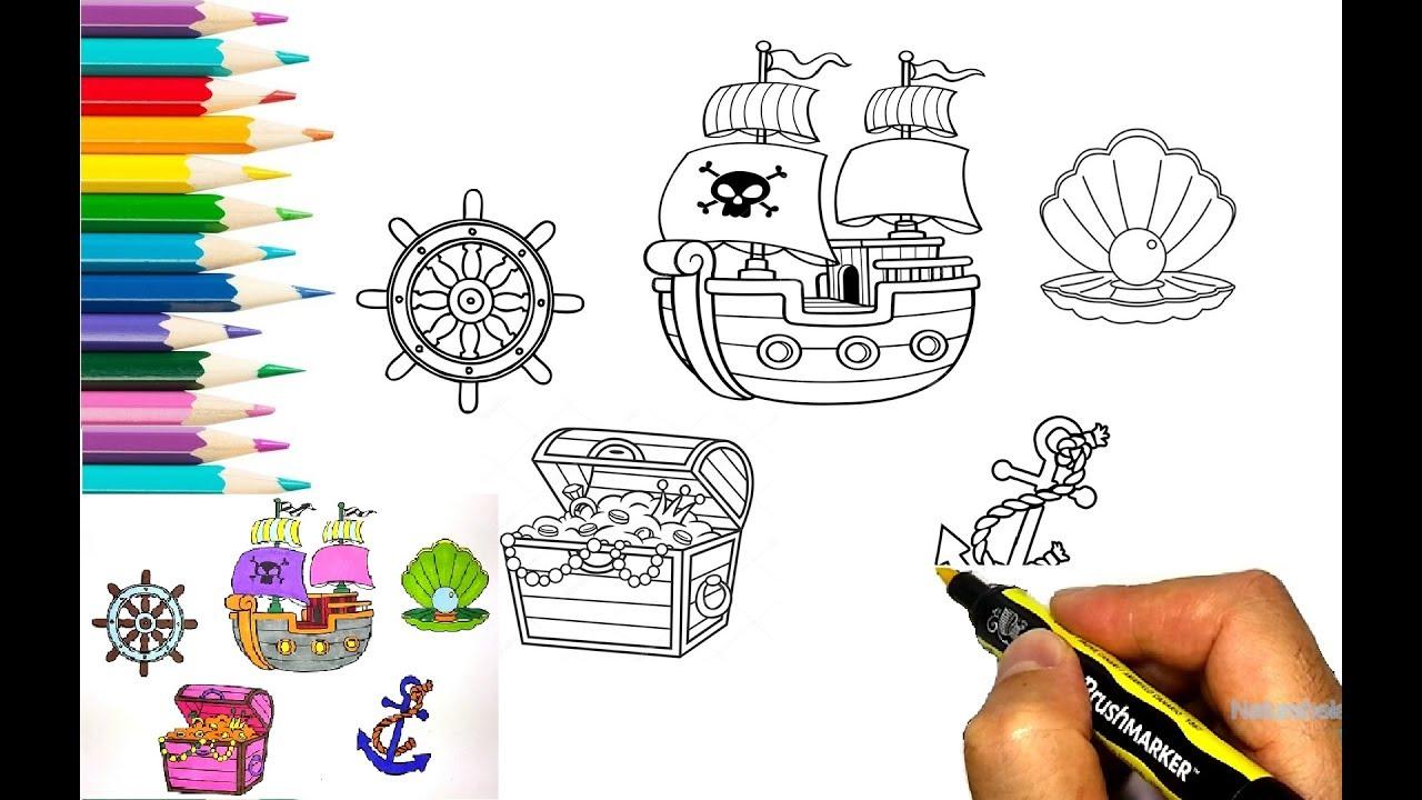 imprimir e pintar o tesouro e barco de pirata desenhos para