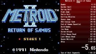 Metroid II: Return of Samus - 100% Speedrun - 1:03:45