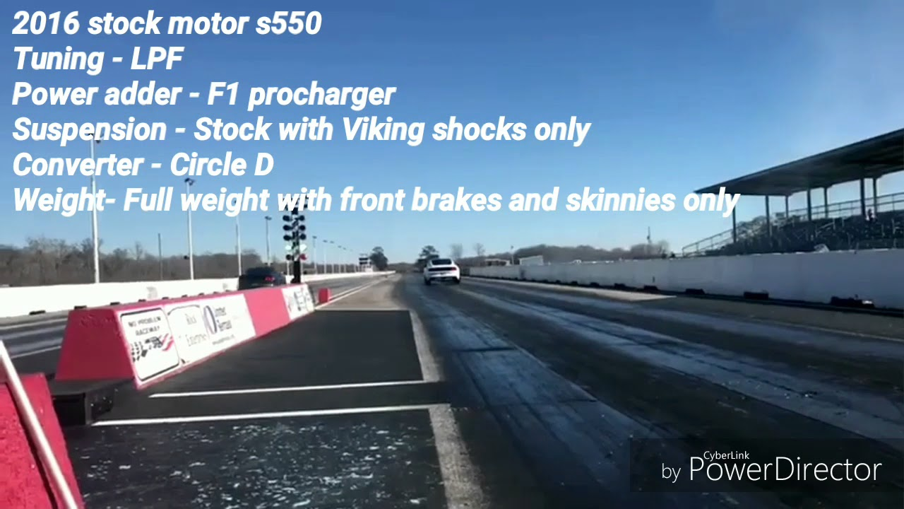 LPF F1 Procharged stock motor s550 mustang goes 9.201