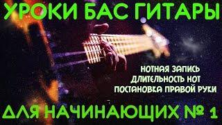 Уроки игры на бас гитаре для начинающих #1// Нотная запись. Длительность нот. Постановка правой руки