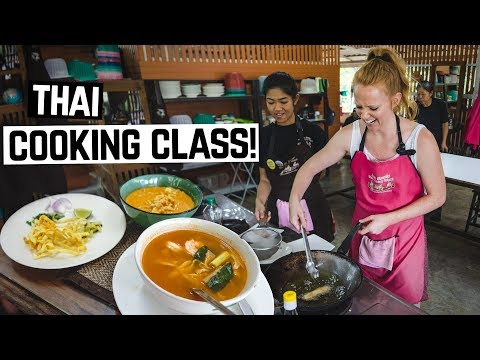 THAI FOOD COOKING CLASS! – Tom Yum, Khao Soi, Hot Basil and MORE! (Chiang Mai, Thailand)
