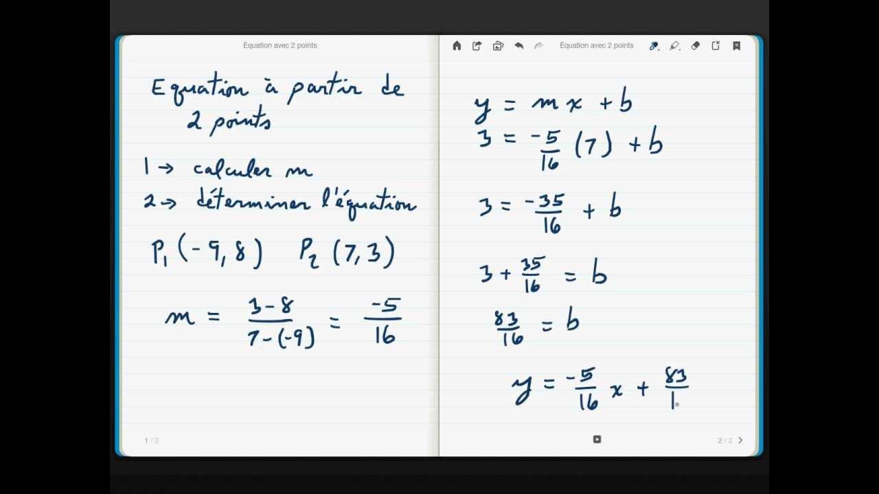 comment savoir l equation d une droite