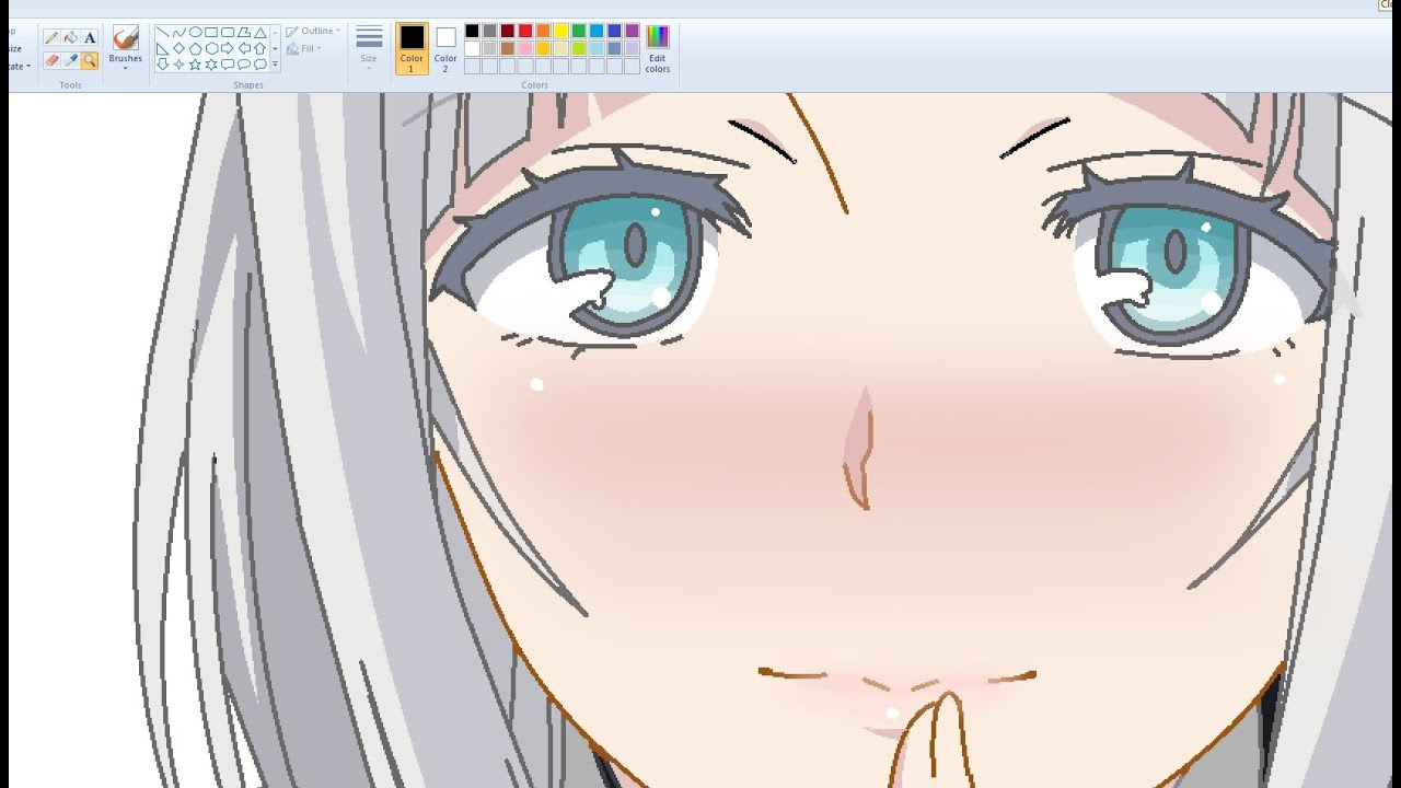 Drawing Anime Girl on MS Paint - Anna Speedpaint - YouTube
