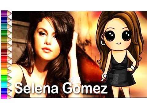 How To Draw Real Selena Gomez And Cartoon Artwork Diy Easy Coloring For Kids Youtube