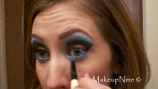Aqua & Metallic Gold Cut Crease using Glamour Doll Eyeshadows
