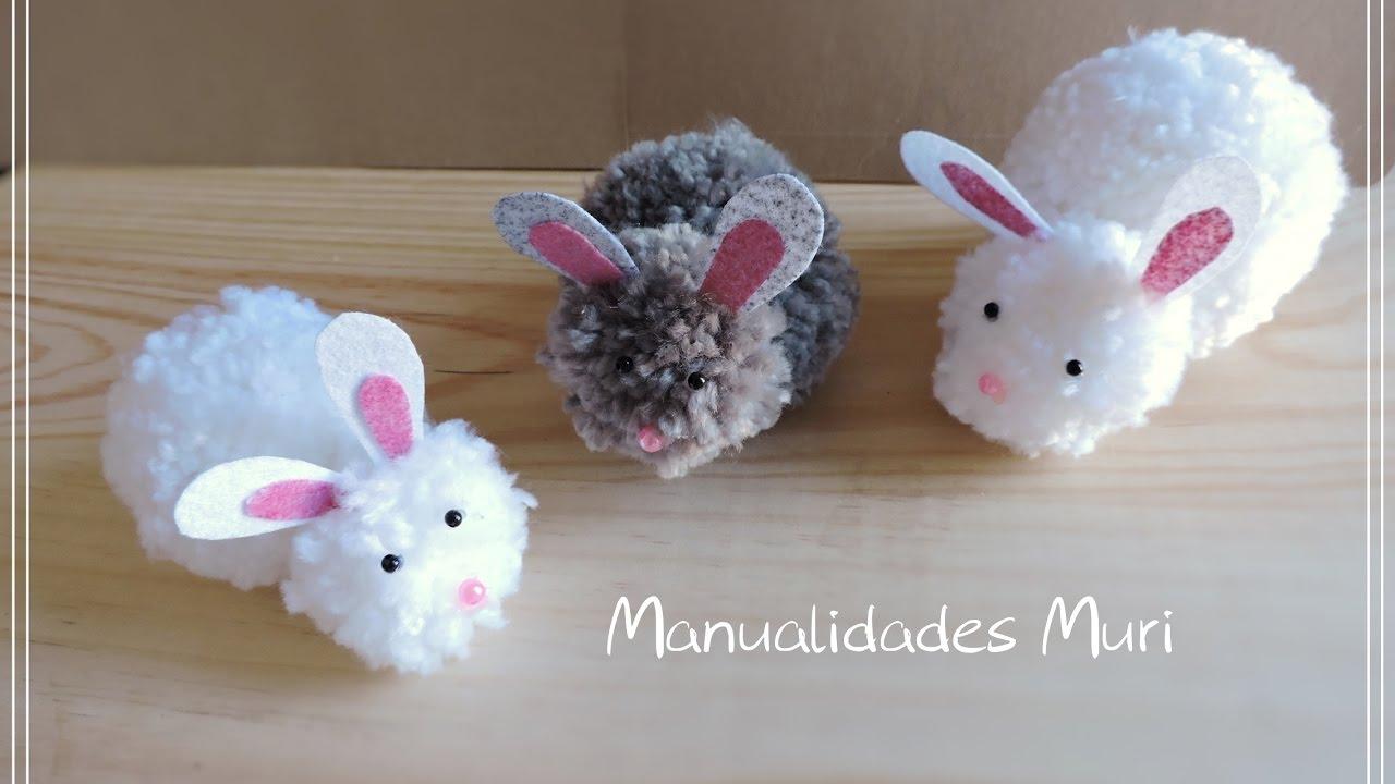 Conejitos de lana con pompones muy f ciles pascua - Como hacer pompones de lana rapido ...