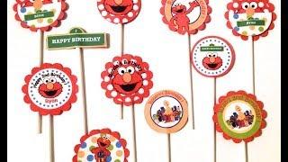 Elmo Birthday Cupcake Topper Sesame Street Birthday Party
