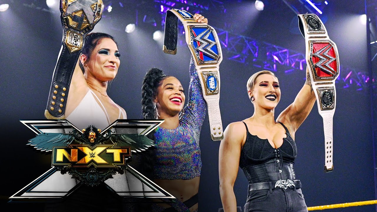 Download Rhea Ripley, Bianca Belair surprise Gonzalez with a champions' salute: WWE NXT, April 13, 2021