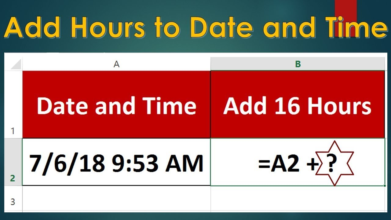 Add Hours to Date and Time in Excel