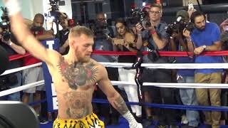 LOL! - CONOR McGREGOR DOES BIZARRE 'RUBBER ARMS' WARM-UP BEFORE WORKOUT / MAYWEATHER v McGREGOR