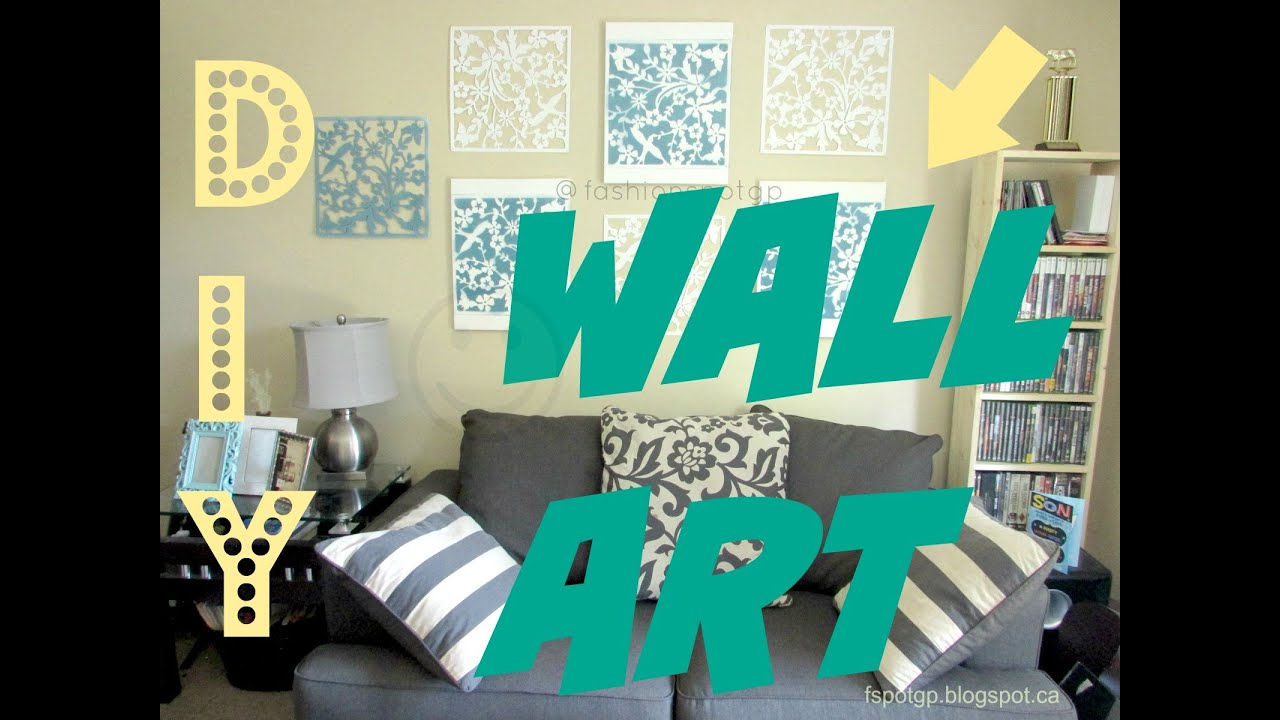 Beautiful DIY || LIVING ROOM DECOR || WALL ART IDEA   YouTube