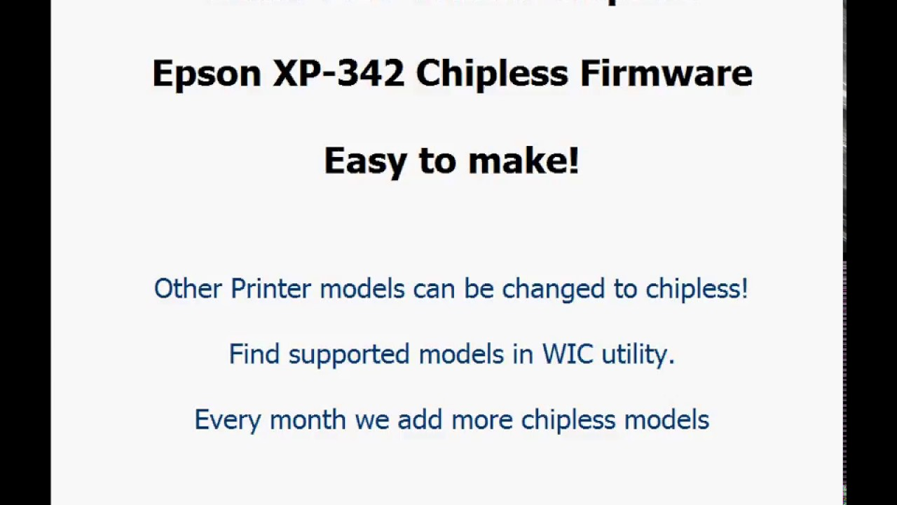 How to make Epson Printer Chipless - NO INKS Firmware for Epson XP-342