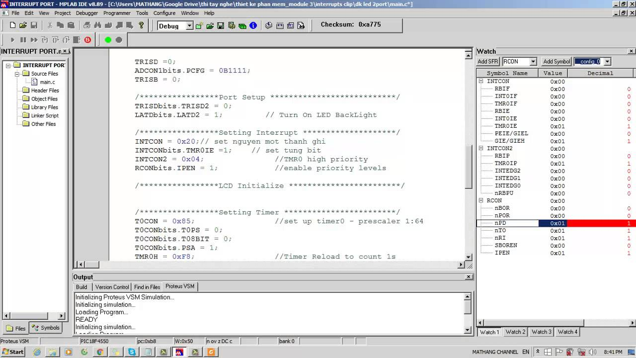 Chương trình Ngắt Timer0 pic18f4550