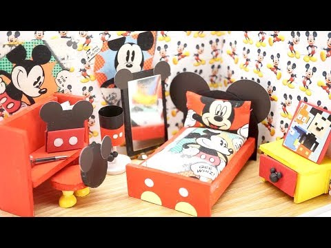 DIY Miniature Dollhouse - DISNEY MICKEY MOUSE ROOM! (NOT A KIT)